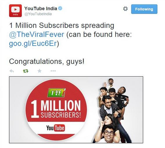 tvf youtube india tweet