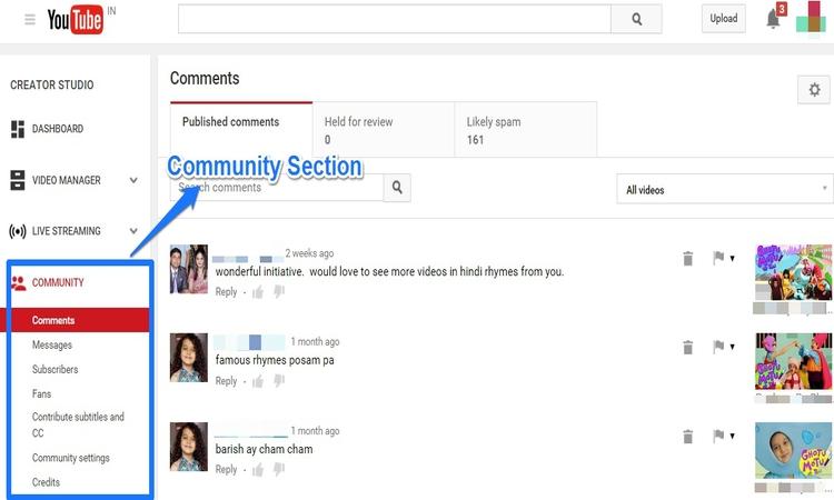 community section youtube