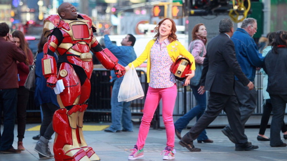 "NEW YORK, NY - MARCH 27: Tituss Burgess and Ellie Kemper on the set of ""The Unbreakable Kimmy Schmidt"" on March 27, 2014 in New York City. (Photo by Steve Sands/GC Images)"