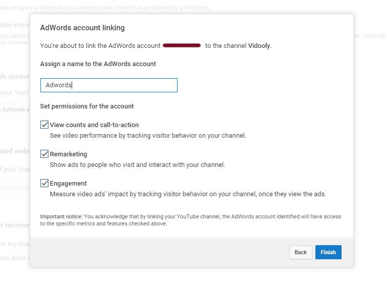 how to link youtube chnnels to adwords