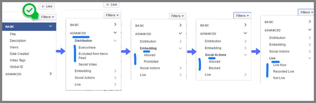 Facebook Filter Options