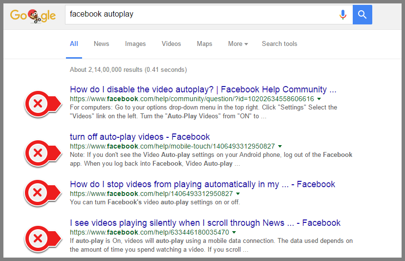 Facebook Autoplay Google Search