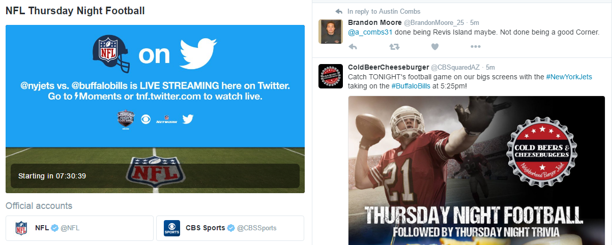 Watch NFL Thursday Night Football now on Twitter