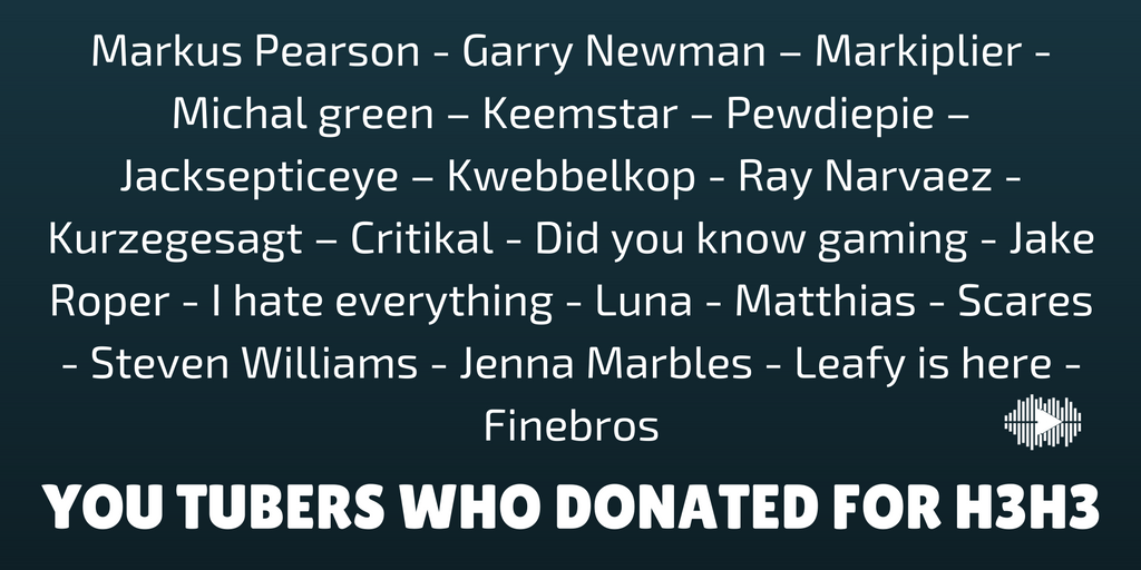 YOU TUBERS WHO DONATED FOR H3H3