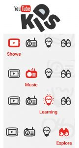 YouTube kids APP Categories