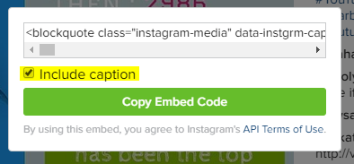 Instagram Embedding code