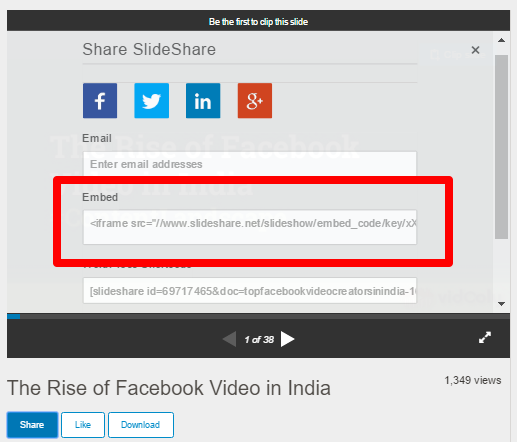 Slideshare Embedding code