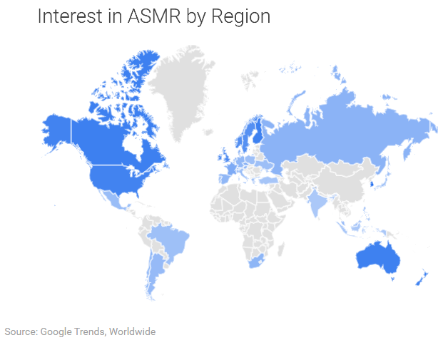 Interest in ASMR by Region
