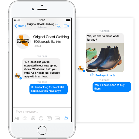 Real-time example of Facebook Messenger ad