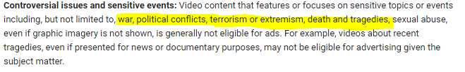 Snapshot of YouTube's advertiser-friendly content guidelines