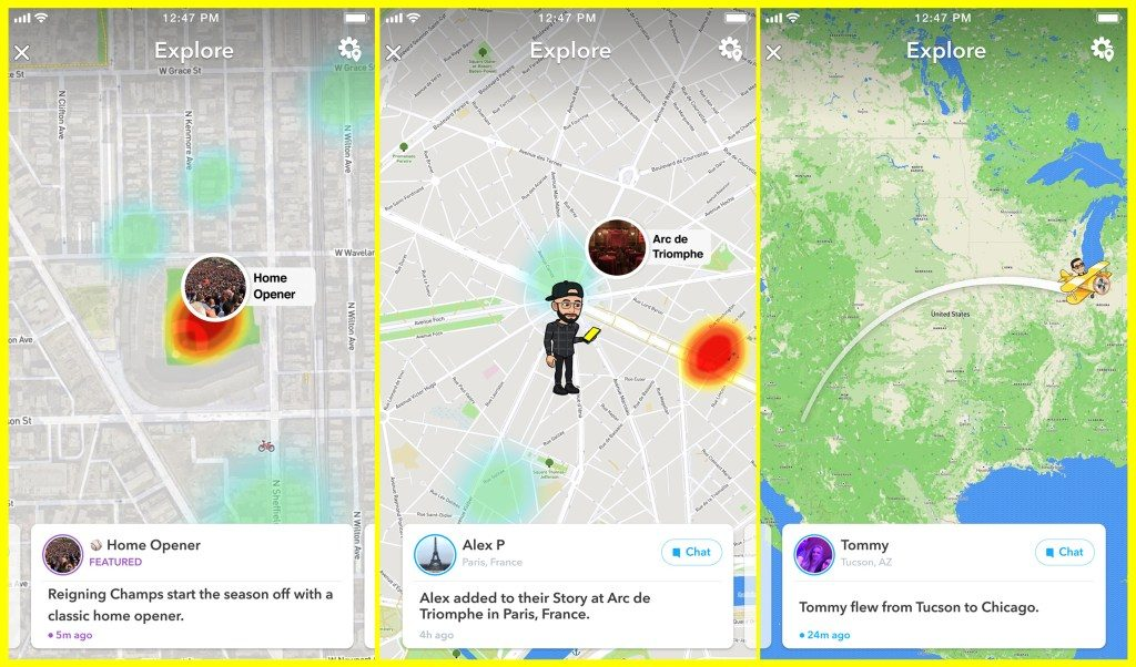 Snapchats snap map gets a new upgrade with map explore feature in order to get started with it all you need to do is tap on new updates and it will generate updates from your friends whenever they do activities like gumiabroncs Gallery