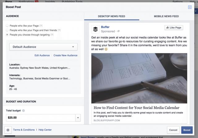creating sponsored post