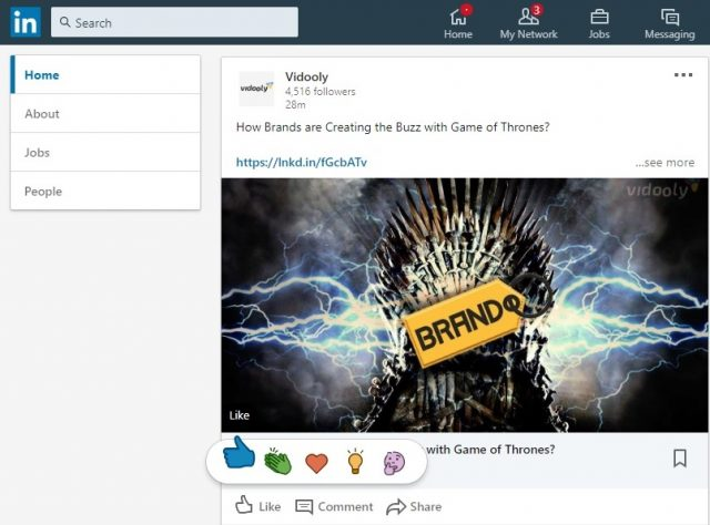 LinkedIn 2019 Updates Like Reaction