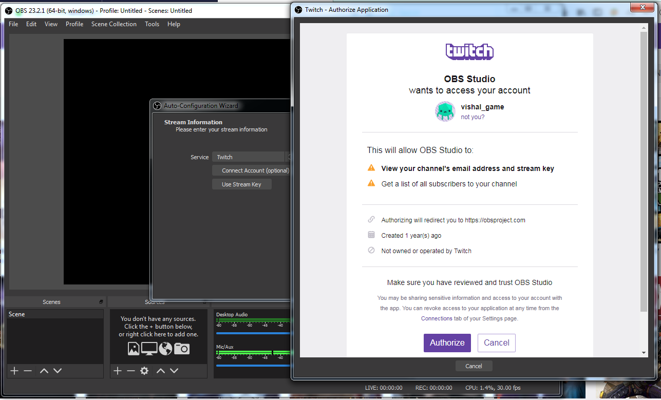 OBS Studio Installation step to select Authorize in OBS-How to Stream on Twitch