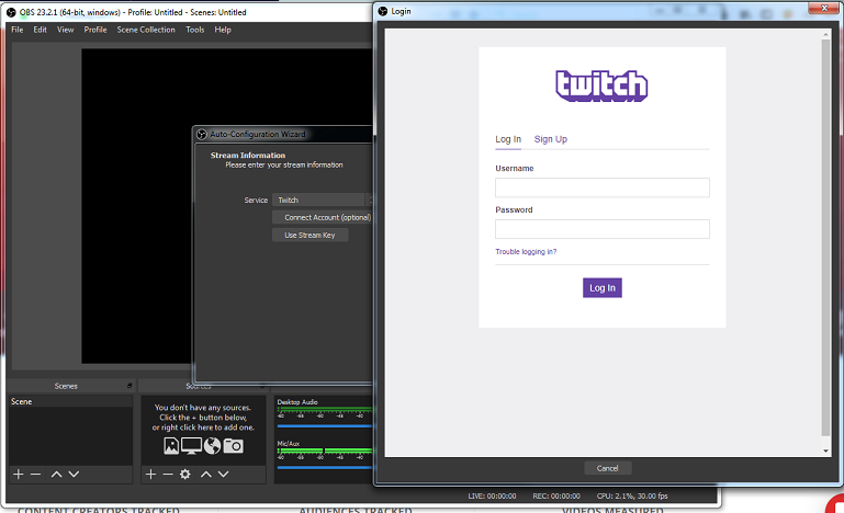 OBS Studio Installation step to sign in via twitch-How to Stream on Twitch