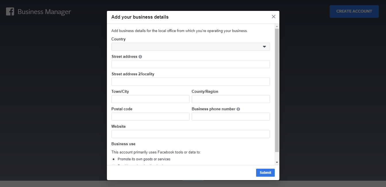 facebook business manager creation steps with other information