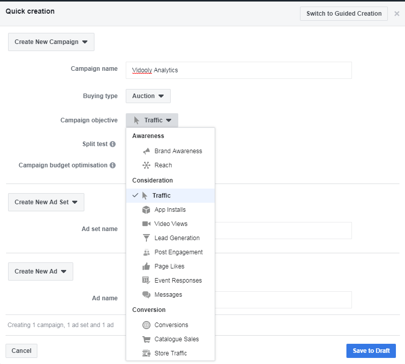 facebook business manager guided creation and campaign objective