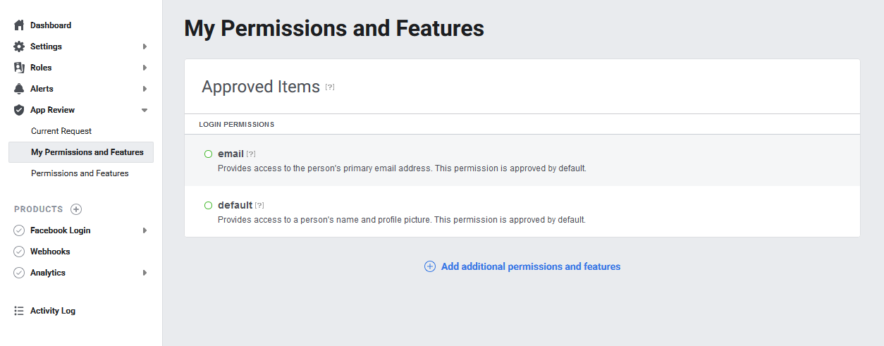 Developers Dashboard Integrate Facebook Login Permissions