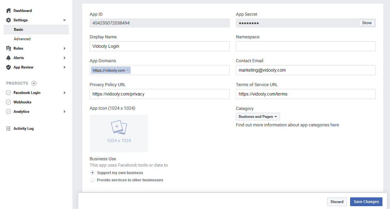 Developers Dashboard Integrate Facebook Save Option and AppID