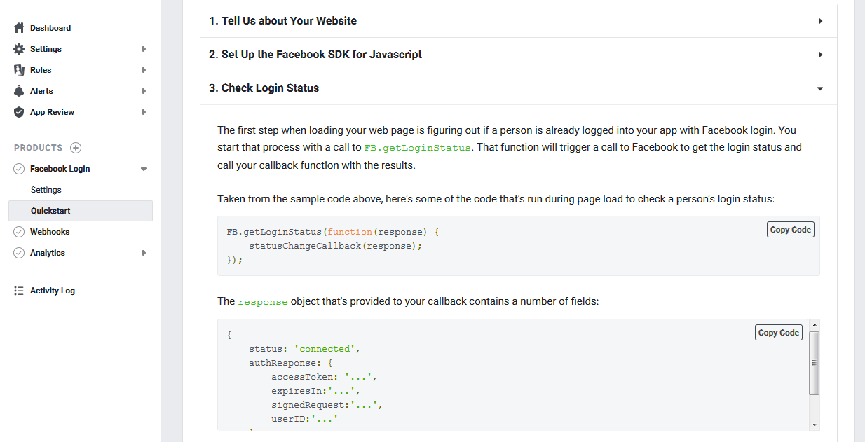 Developers Dashboard Option to Integrate Facebook Login Javascript SDK