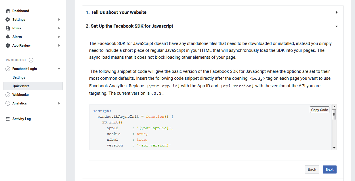 Developers Dashboard to Integrate Facebook Login Javascript SDK