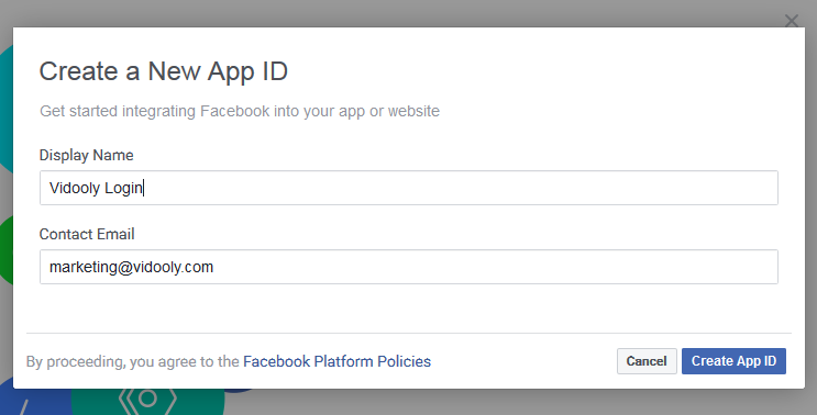 Developers Login App Name and ID Facebook Login for WordPress