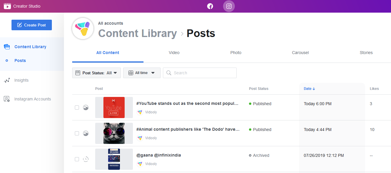 How to connect Instagram to Facebook Creator Studio to post from PC Content Library