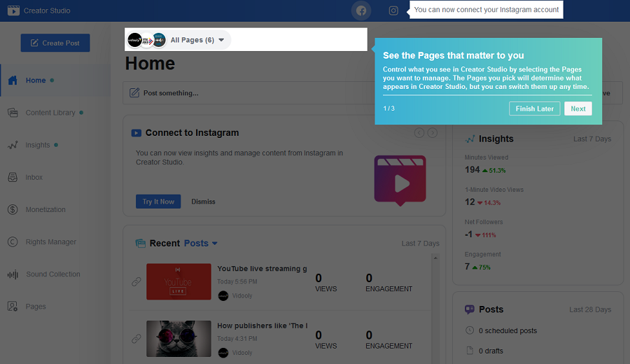 How to connect Instagram to Facebook Creator Studio to post from PC directly starting Windows welcome screen