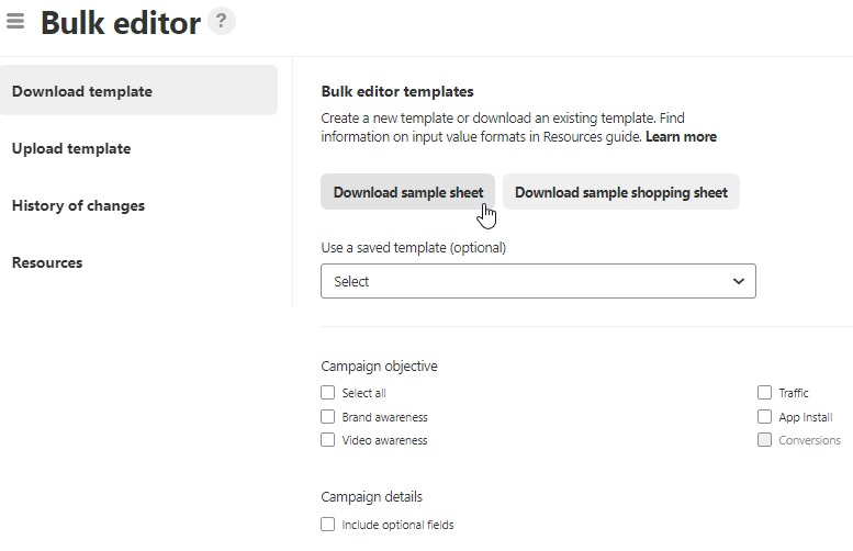 How to setup Pinterest Shopping Ad campaign Bulk Editor