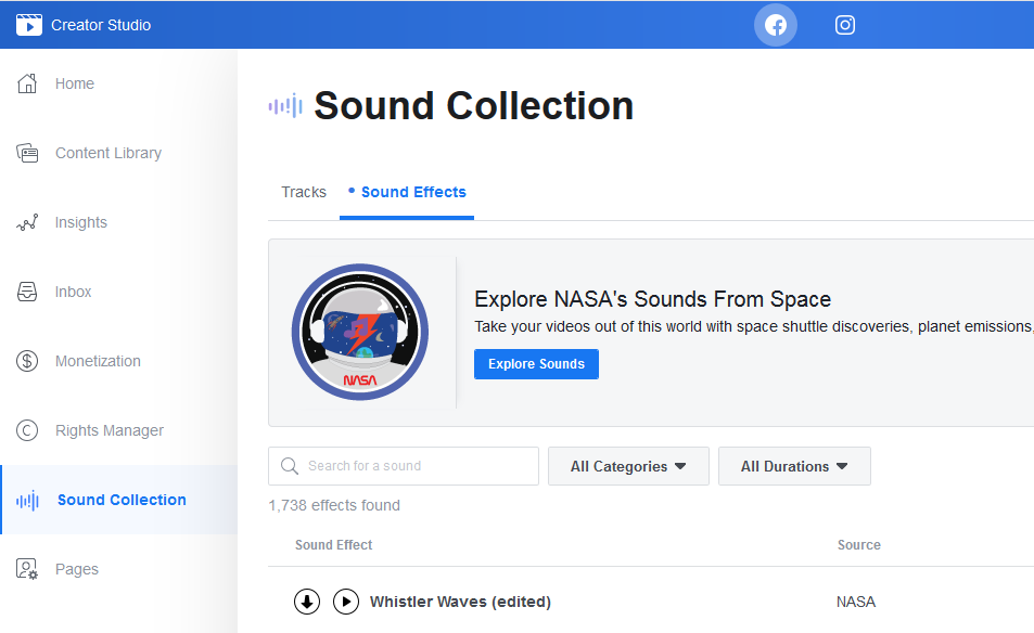 How to use Facebook Sound Collection or Royalty free Music Library sound effects
