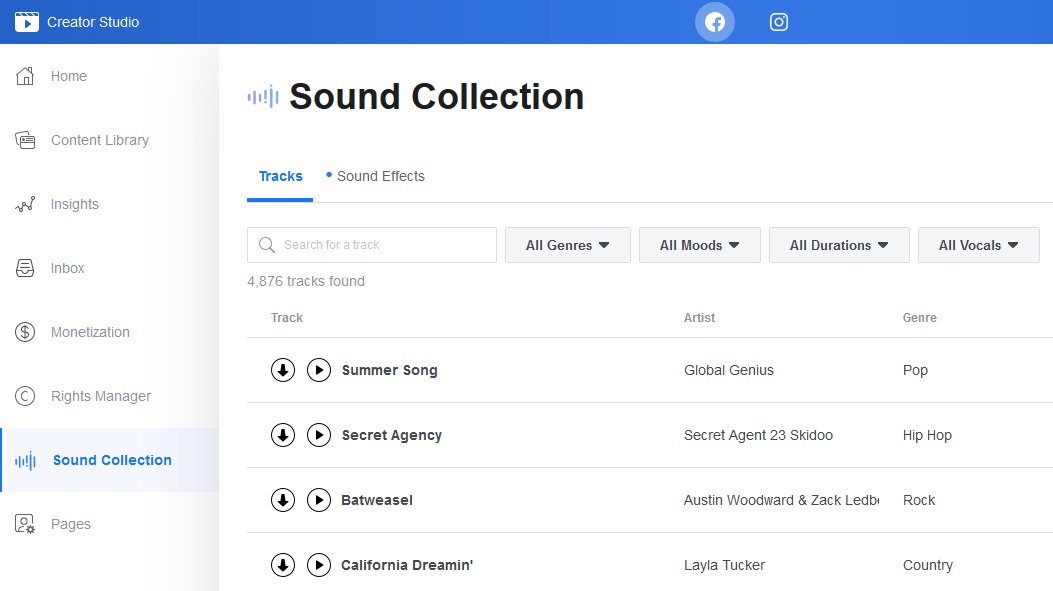 How to use Facebook Sound Collection or Royalty free Music Library sound tracks