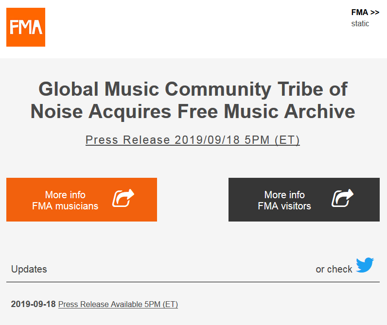 Free Music Archive acquire by Tribe of Noise