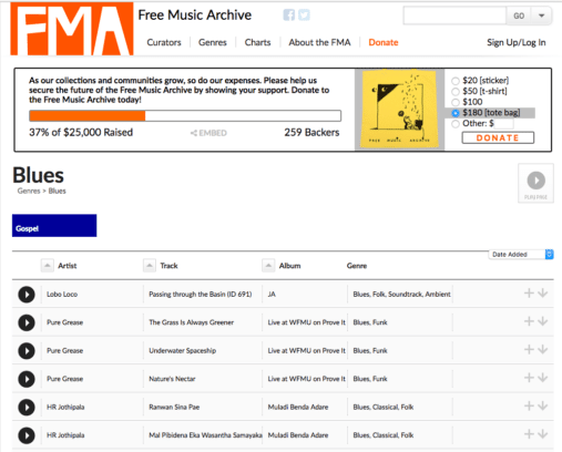 Free Music Archive for background music for videos