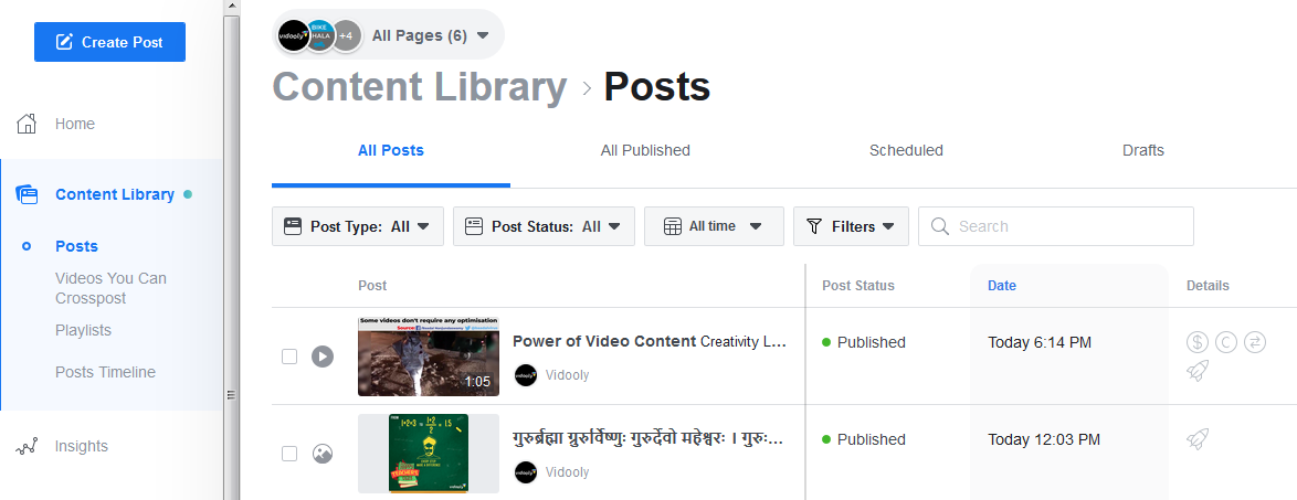facebook content library posts