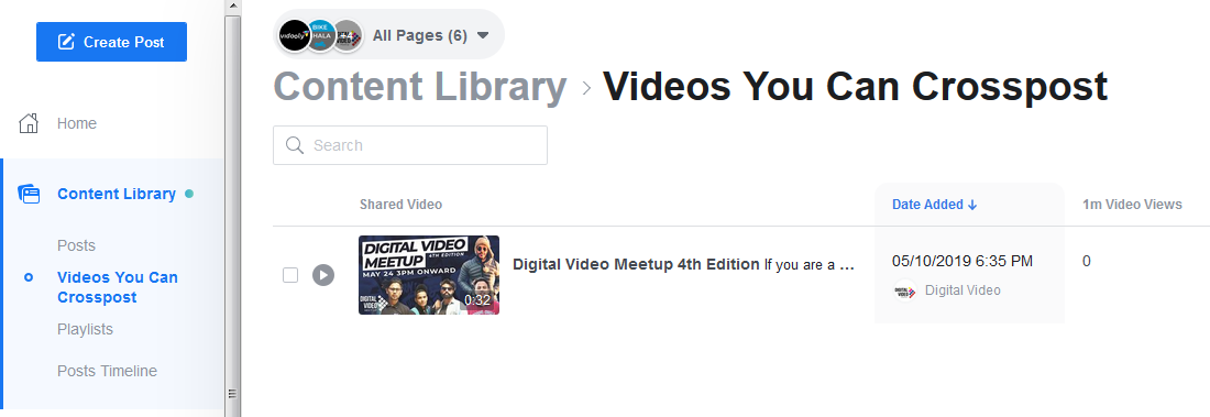facebook content library video you can crosspost