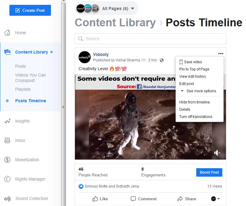 facebook content posts timeline