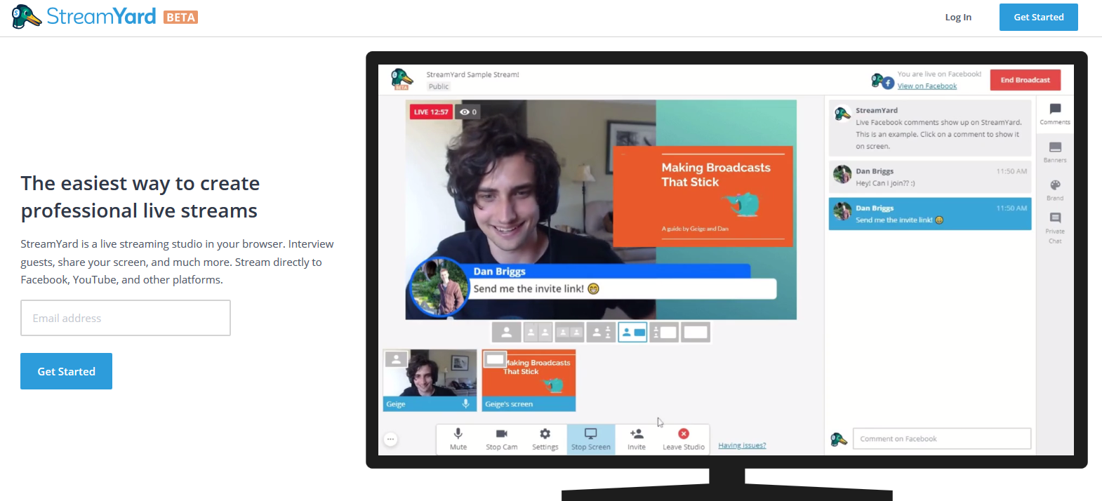 streamyard LinkedIn Live Streaming tool