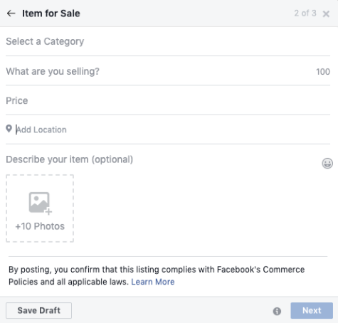 Fill Relevant field of product on Facebook Marketplace