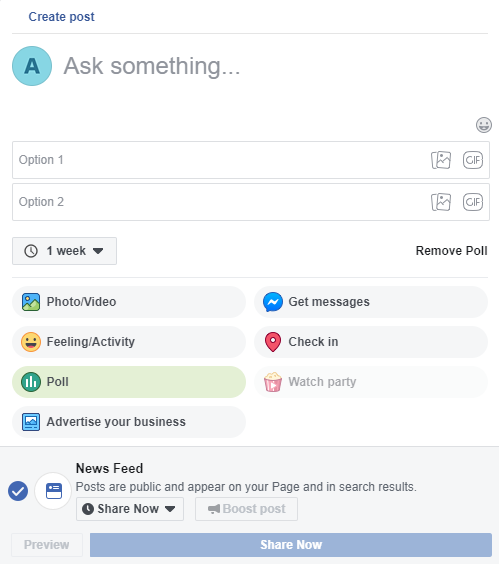 create facebook poll for business marketing
