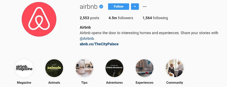 Descriptive Instagram Profile of AirBNB