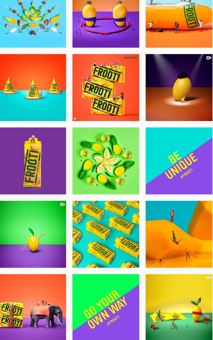 Frooti Instgram Profile having a constant theme