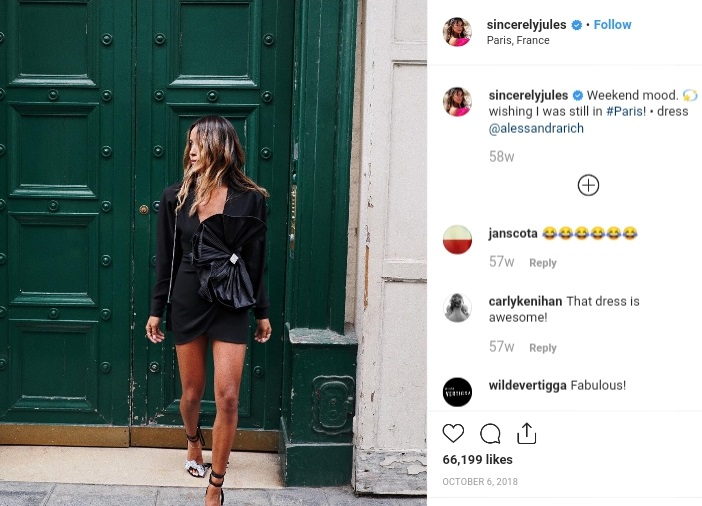 sincerelyjules Insta post with sponsor dress