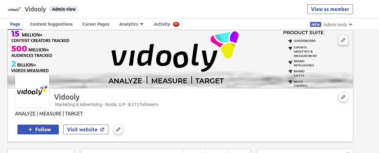 Vidooly LinkedIn Page