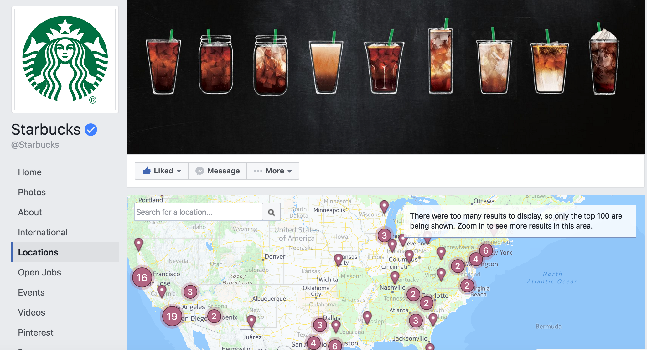 multiple locations to facebook